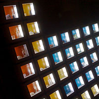 A wall-sized periodic table with backlit samples of the elements. Photograph: mezzoblue, Flickr.com