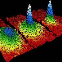 Velocity-distribution data of a gas of rubidium atoms, confirming the discovery of a new phase of matter, the Bose–Einstein condensate. Image: NIST