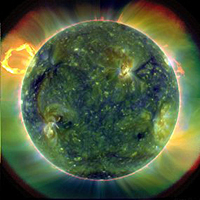 A false-colour image of the Sun taken by the Solar Dynamics Observatory (Source: Goddard Space Flight Centre NASA)