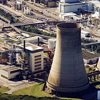 Calder Hall, UK. The world's first nuclear power station to produce electricity in commercial quantities. Closed in 2003 after having been in use for 47 years.
