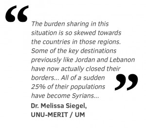The burden sharing in this situation is so skewed towards the countries in those regions. Some of the key destinations previously like Jordan and Lebanon have now actually closed their borders. They are no longer allowing Syrians in. All of a sudden 25% of their populations have become Syrians, more or less overnight.