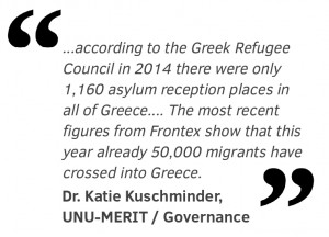 """according to the Greek Refugee Council in 2014 there were only 1,160 asylum reception places in all of Greece. Most of these facilities are run by NGOs often with specific mandates for unaccompanied minors or families. The most recent figures from Frontex show that this year already 50,000 migrants have crossed into Greece."""