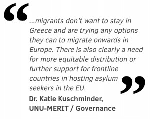 """...migrants don't want to stay in Greece and are trying any options they can to migrate onwards in  Europe. There is also clearly a need for more equitable distribution or further support for frontline  countries in hosting asylum  seekers in the EU."""