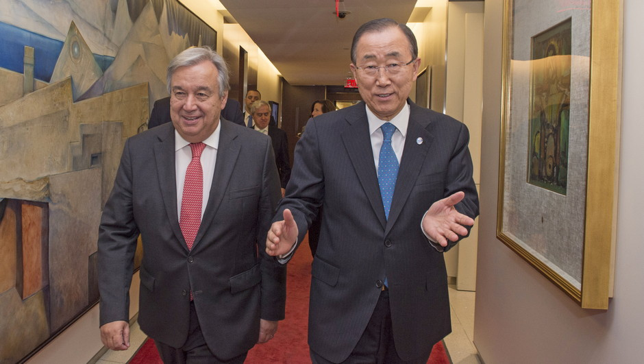Secretary-General Ban Ki-moon meets with Mr. Antonio Guterres, Secretary-General-designate.