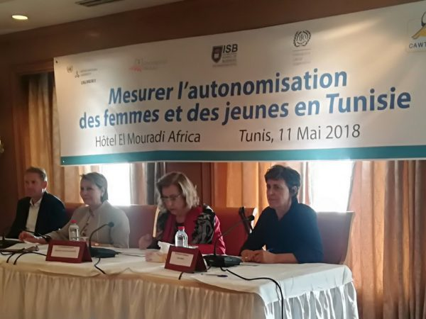 Prof. Michael Grimm (University Passau), Mrs Naziha Labidi, (Minister of Women), Dr. Soukeina Bouraoui, (Director Center of Arab Women for Training and Research CAWTAR), Dr. Micheline Goedhuys, UNU-MERIT